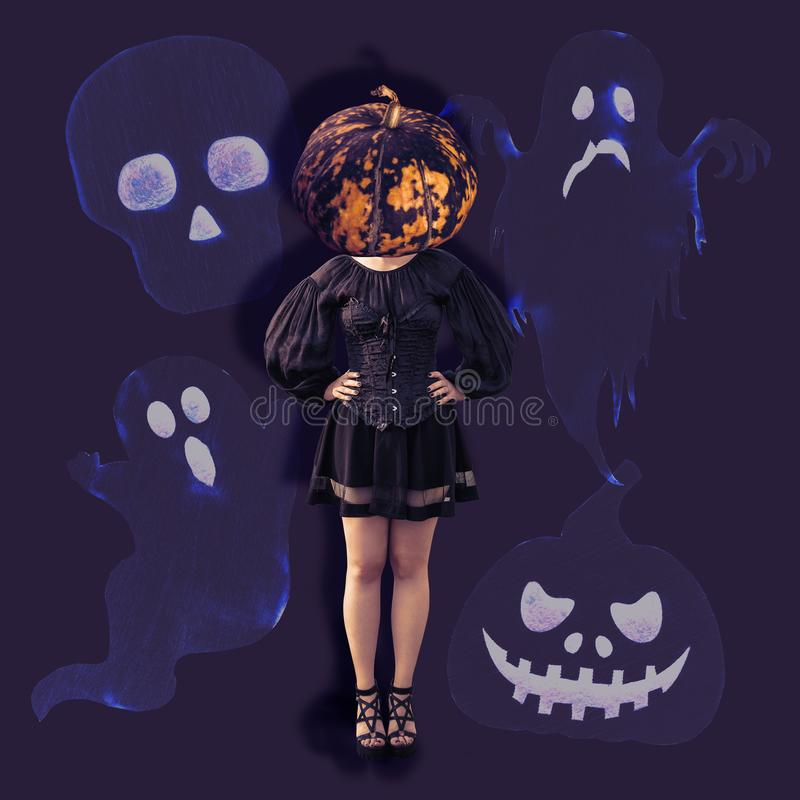 Gothic girl in black dress with pumpkin head. Contemporary art collage stock image