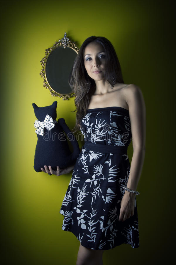 Gothic girl with cat stock photo
