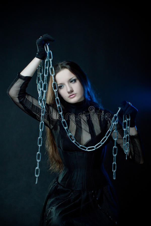 Download Gothic girl with chains stock image. Image of chain, blue - 13748711