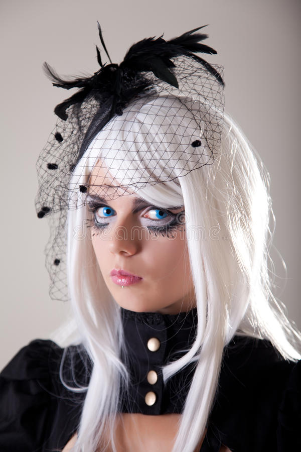 Gothic girl with creative make-up royalty free stock image