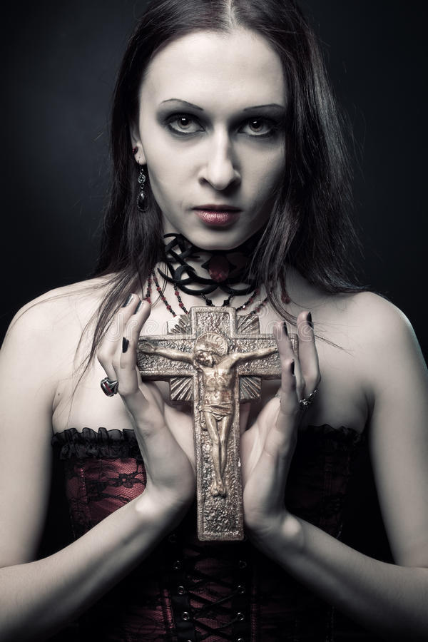 Download Gothic girl with crucifix stock photo. Image of woman - 27662436