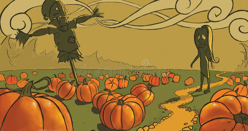 Gothic girl on the pumpkin field stock images