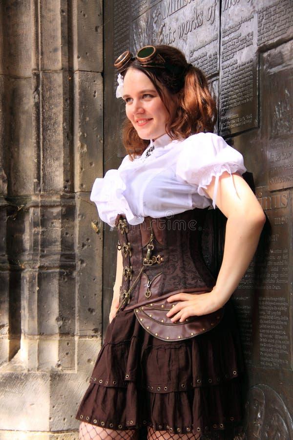 Gothic girl street fashion corset stock image