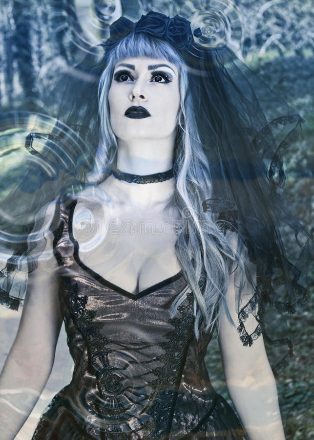 Gothic girl with veil looking into another world. Beautiful Gothic bride with veil looking into another world royalty free stock photography