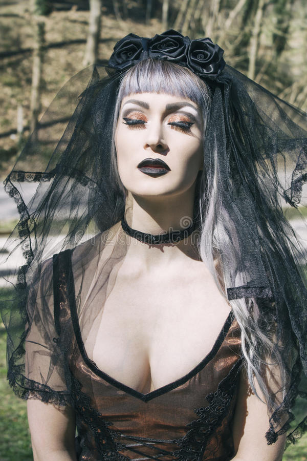 Gothic girl with veil. Portrait of beautiful and dark Gothic girl with veil stock photography