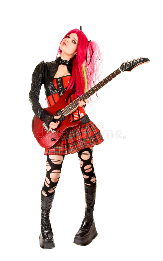 Free Gothic Girl With Guitar Royalty Free Stock Photography - 12855717