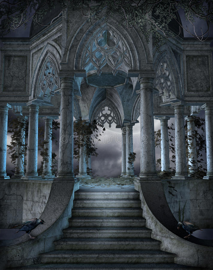 Gothic graveyard 6. Gothic chapel with stairs and vines