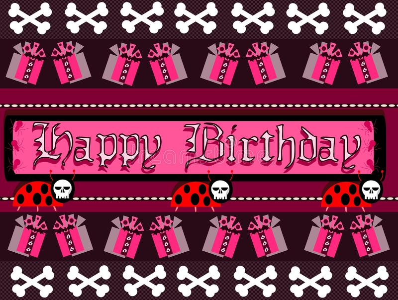 Gothic Happy birthday greeting card stock image