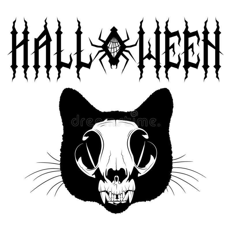Gothic inscription Halloween with spider and cobweb. Cat skull. Samhain design. Isolated on white, vector illustration royalty free illustration