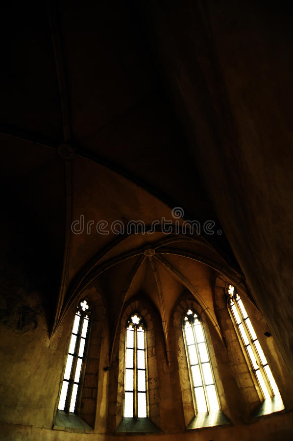 Gothic interior in Transylvanian chapel stock images