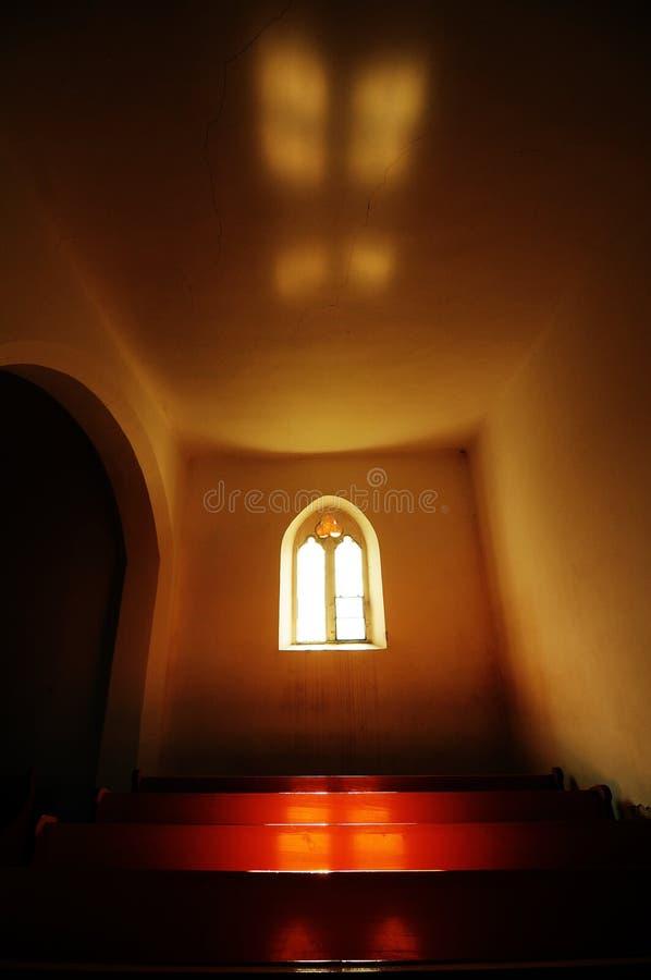Gothic interior in Transylvanian church stock image