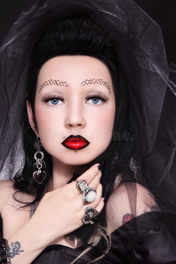 Download Gothic lady stock image. Image of elegance, eyebrows - 25627393