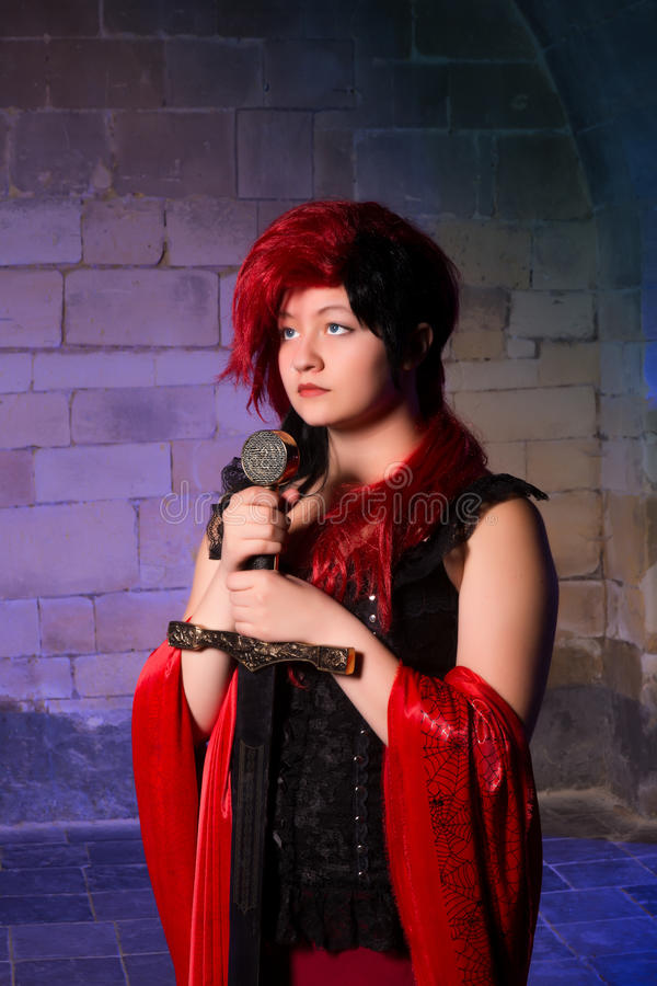 Gothic lady with sword royalty free stock photo