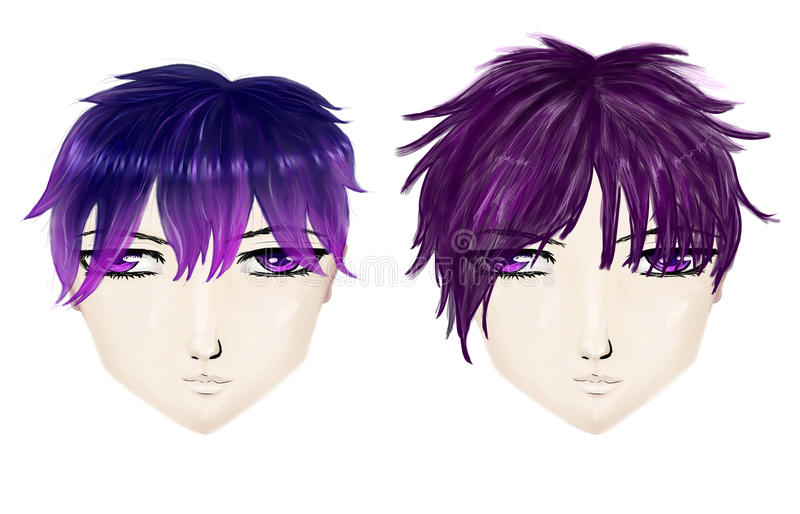 Gothic male haircuts. Male gothic haircuts in anime, manga style on white background vector illustration