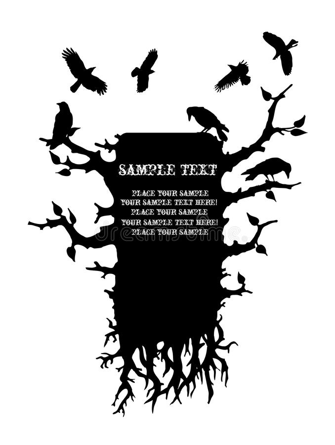 Gothic monochrome text frame with crows stock images