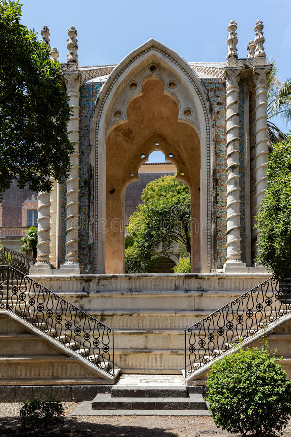 Gothic pavilion in the cloister of San Nicolo l`Arena royalty free stock photos