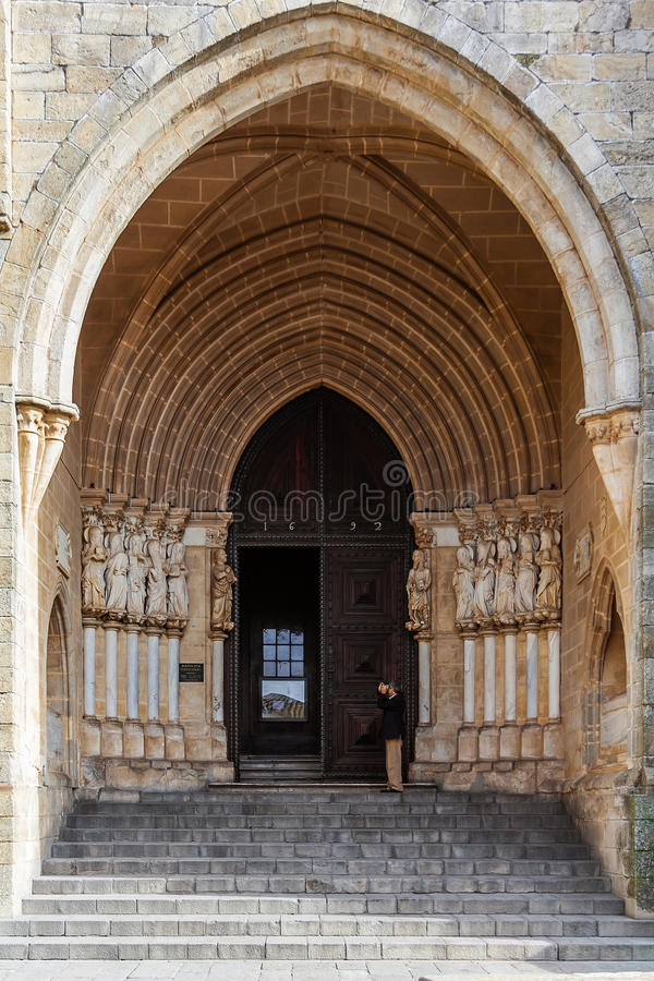 Gothic portal of the Evora Cathedral or See, the largest cathedral in Portugal. stock image