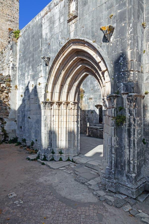 Gothic portal in the ruins of the Nossa Senhora da Pena Church stock photography