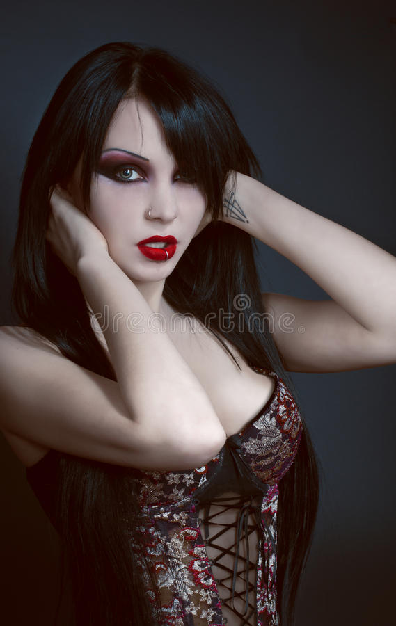 Gothic portrait of brunette woman stock images