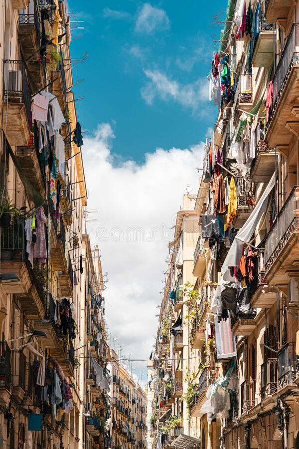 Gothic Quarter Building Architecture In Barcelona, Spain stock image