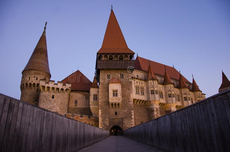 Corvin Castle panoramic view. Is a Gothic-Renaissance castle in Hunedoara, Romania. It is one of the largest castles in Europe and figures in a list of the Seven royalty free stock image