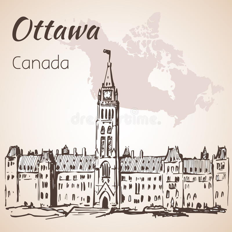 The Gothic Revival Parliament Buildings Ottawa and map. On white background royalty free illustration