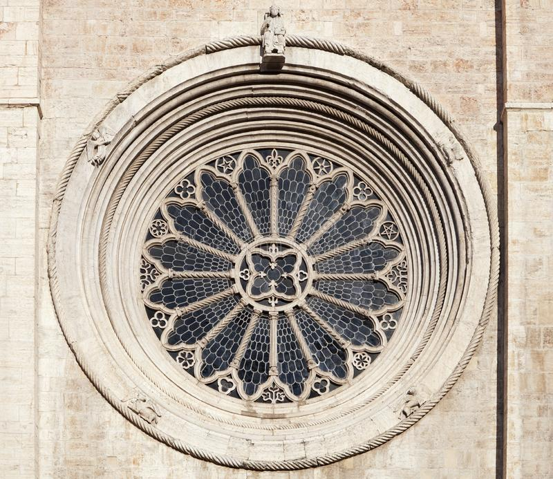 Rose window of Trento cathedral stock photo