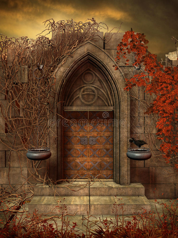 Gothic ruins with old door stock illustration