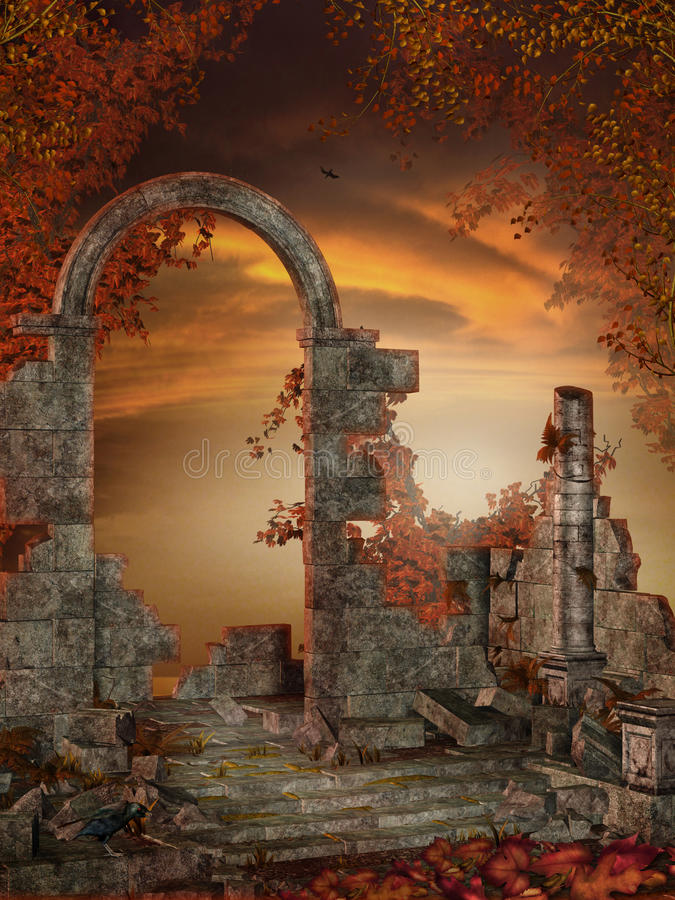 Download Gothic Ruins With Red Vines Stock Illustration - Image: 15631799