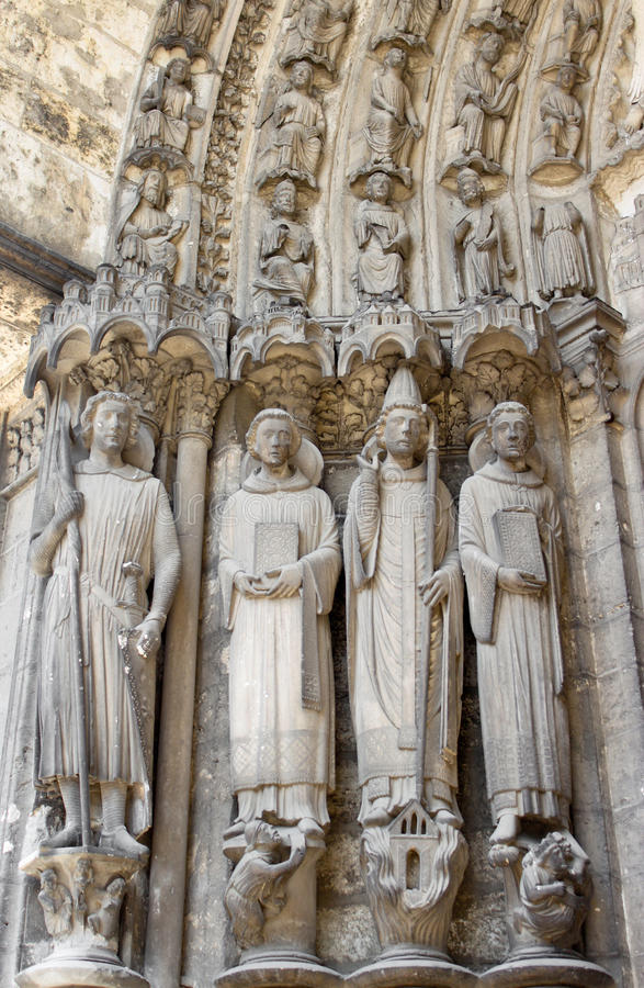 Gothic saints sculptures in chartres cathedral stock image