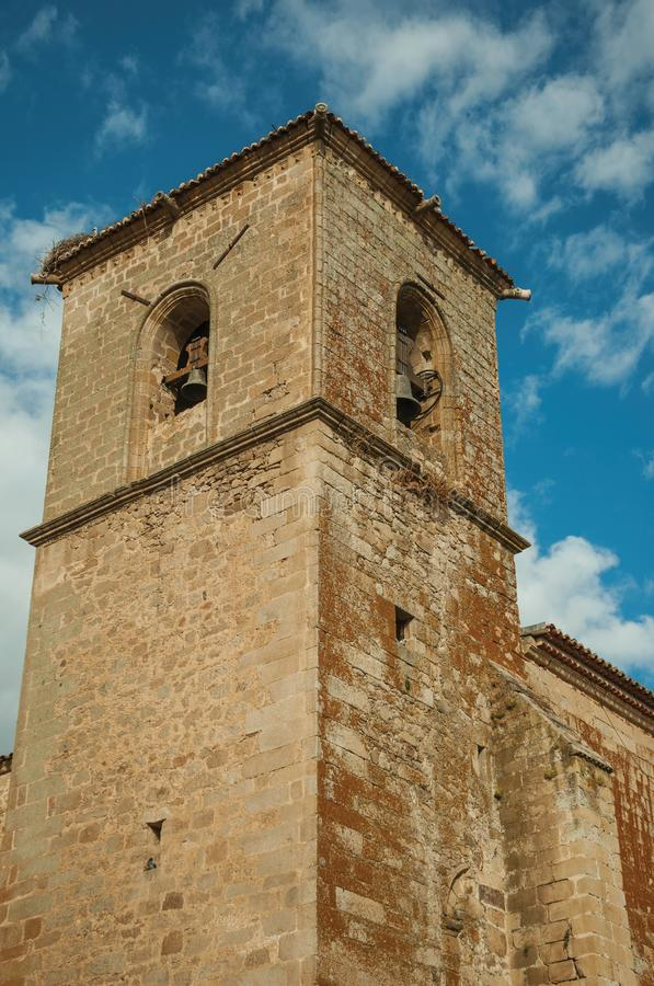 The gothic San Martin Church bellow tower at Trujillo stock images