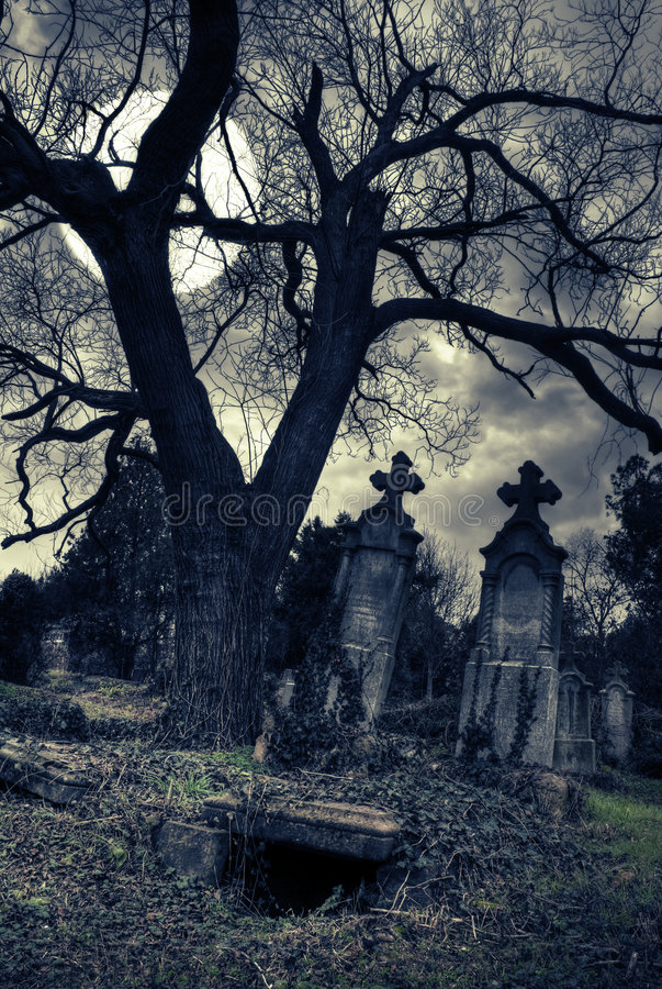 Download Gothic Scene With Opened Tomb Stock Illustration - Image: 7928555