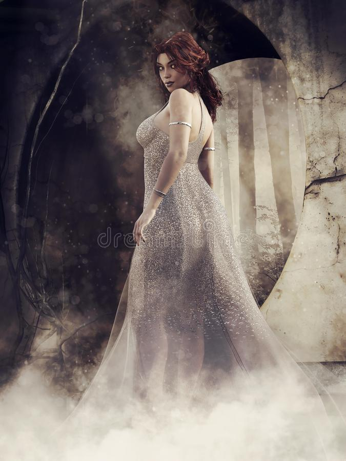 Gothic scene with a young woman stock illustration