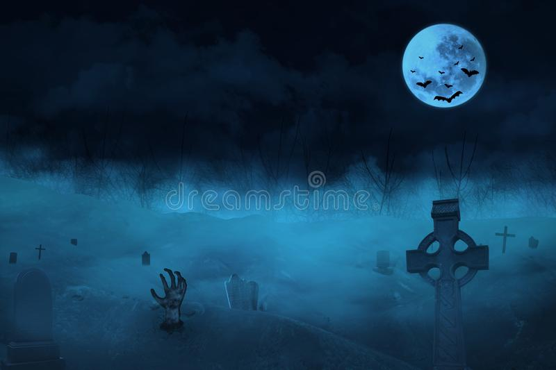 Gothic scene with zombies and tomb royalty free illustration
