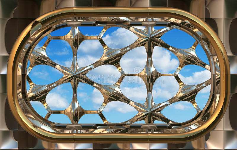 Gothic Or Scifi Window With Blue Sky Stock Photo