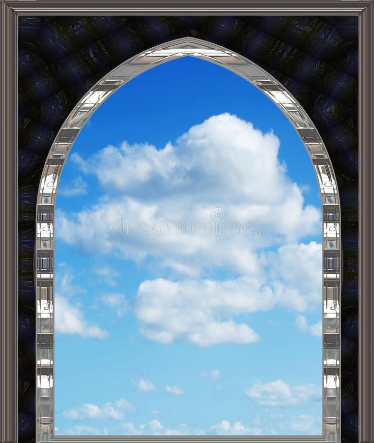 Download Gothic Or Scifi Window With Blue Sky Stock Illustration - Illustration: 11772546
