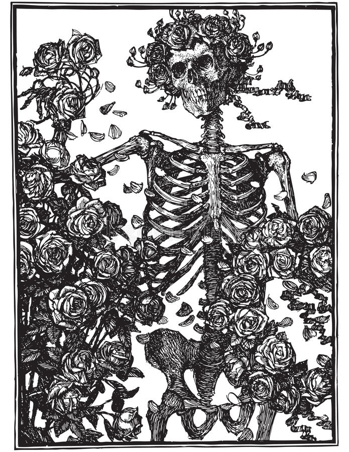 Gothic skeleton with roses vector illustration