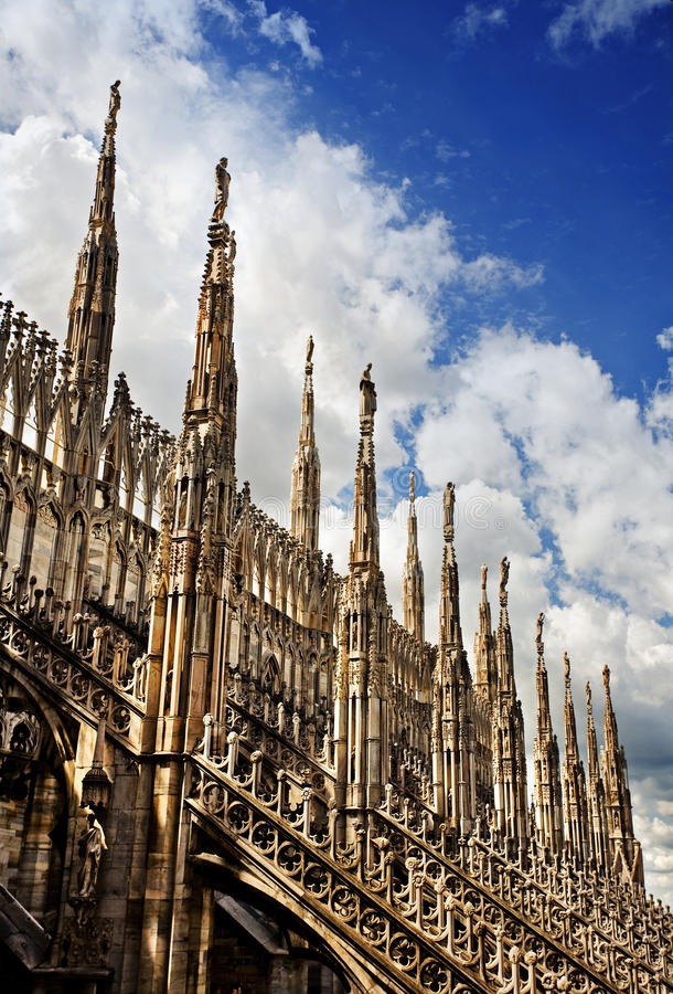 Gothic Spires Milan Cathedral Stock Photo Image Of