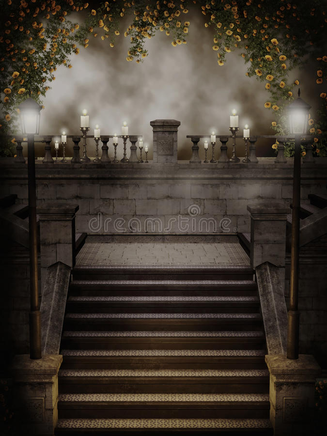 Gothic stairs with rose vines. Gothic stairs with yellow rose vines and candles vector illustration