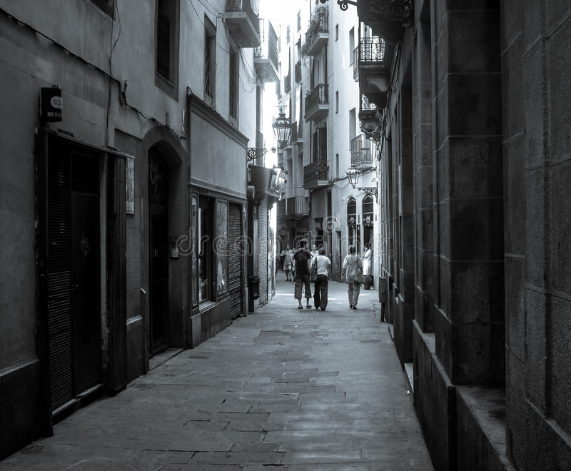Gothic Streets. Exploring the beauty of the streets and alleyways of the gothic quarter of Barcelona Spain stock image