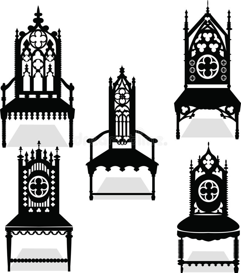 Download Gothic Style Chairs Set With Ornaments Stock Vector