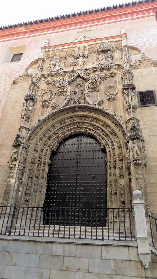 Gothic style chapel doors Sagrario-Malaga. SPAIN stock images
