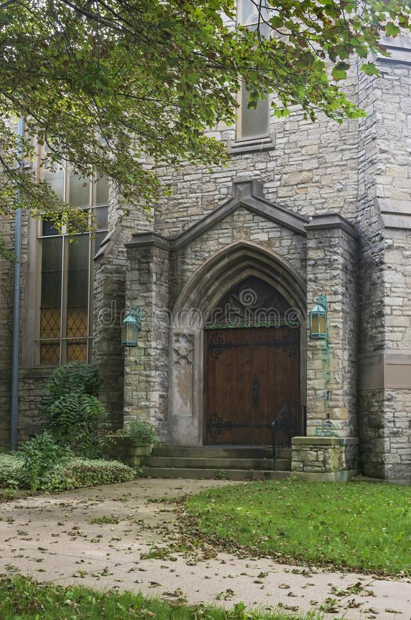 Gothic Style Church Entrance and Walkway in Milwaukee. Gothic style church entrance and walkway leading to door in milwaukee wisconsin stock images