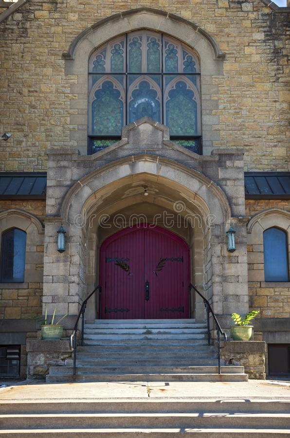 Gothic Style Church Entry and Facade in Saint Paul. Front entrance and facade of church building in saint paul minnesota stock photography