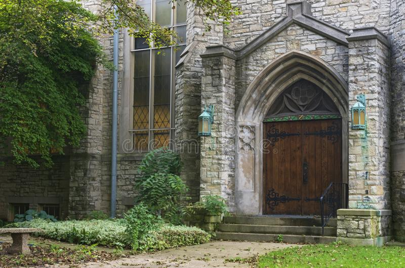 Gothic Style Church Facade and Entrance in Milwaukee. Wisconsin royalty free stock photos
