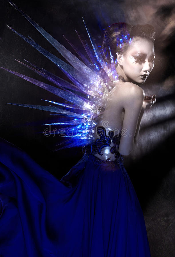 Gothic style female model. Shot in studio royalty free stock photo