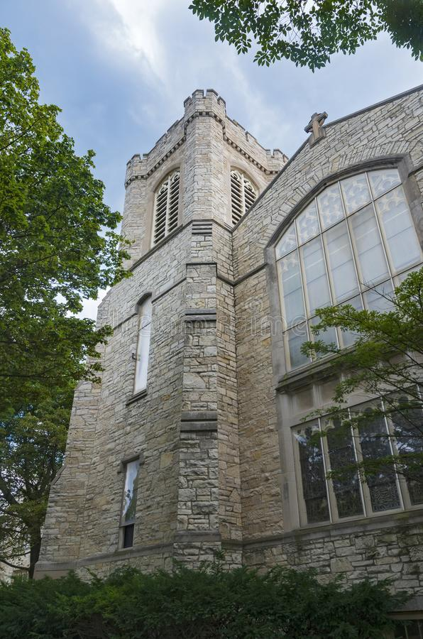 Gothic Style Landmark Church in Milwaukee. Gothic style church exterior wall windows and tower in milwaukee wisconsin stock photo