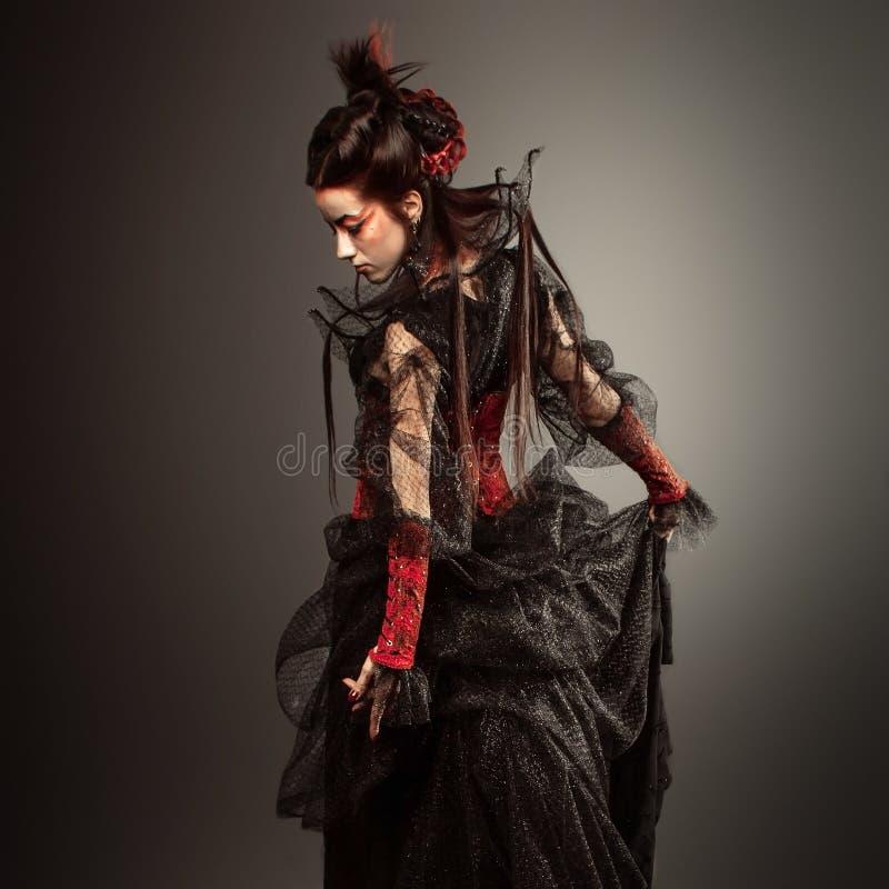 Gothic Style Model Girl Portrait. Fashion Gothic Style Model Girl Portrait royalty free stock photos