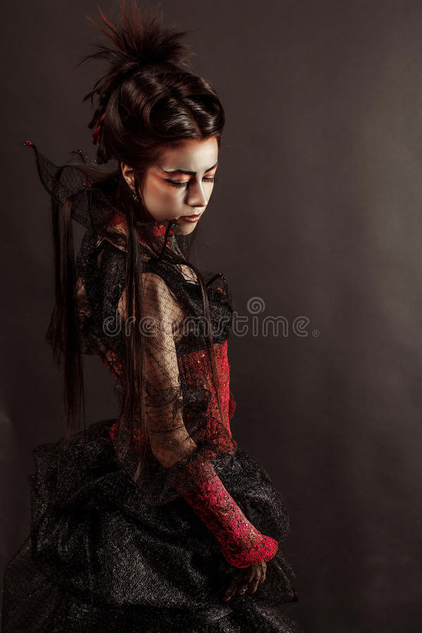 Gothic Style Model Girl Portrait stock photos