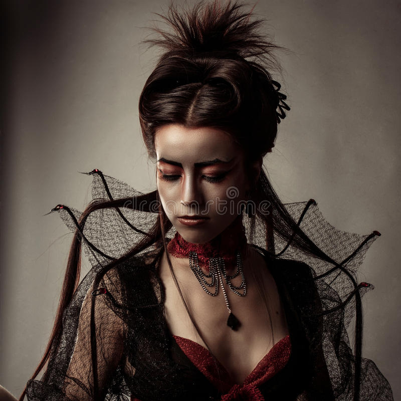 Gothic Style Model Girl Portrait. Fashion Gothic Style Model Girl Portrait royalty free stock images